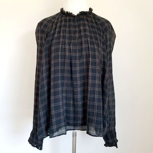 Zara Trafaluc Black Plaid Long Sleeve Blouse